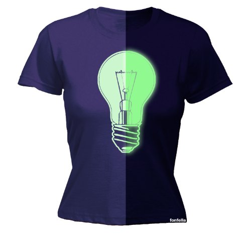 123t Women's - GLOW IN THE DARK LIGHT BULB - Ladies Fitted T-shirt