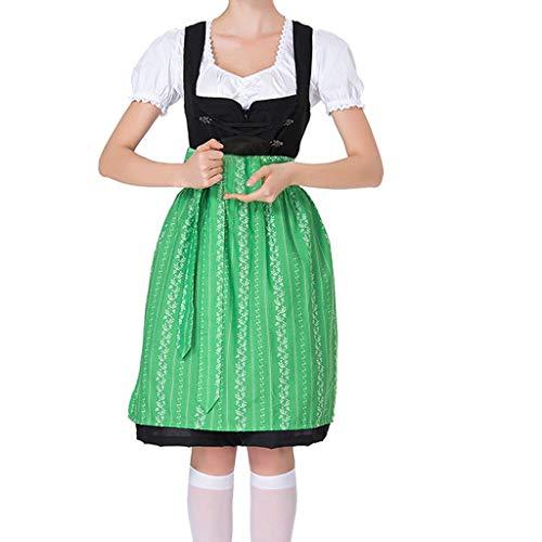 ToDIDAF Kleid für Damen Frau Mädchen Oktoberfest Theme Maidservant Maid's Kleidung Cosplay Kostüme für Halloween Oktoberfest Carnival Grün S