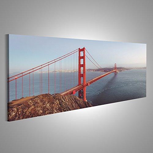 islandburner Bild Bilder auf Leinwand Klassische Panoramablick auf die berühmte Golden Gate Bridge von Battery Spencer Panorama Format ! Direkt vom Hersteller ! Bilder ! Wandbild Poster Leinwandbild ! DXZ (Bridge, Gate Berühmt Golden)
