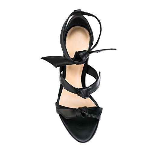 Damen Sommer Open Toe Sandalen High-Heels Stiletto Knöchelriemchen Dress Sandals Schwarz