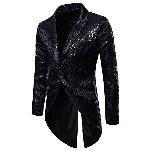 KPILP SakkosMen's Anzugjacken Tuxedo Fashion for Party Handsome Oberteile Charm Casual One Button Fit Suit Blazer Coat Jacket Autumn Winter(Schwarz,EU-54/CN-M Tuxedo-overall
