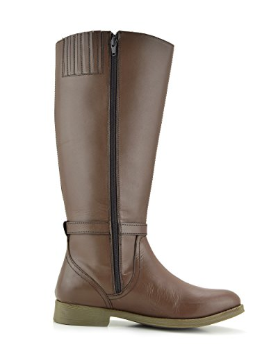 Marrone chiaro Kick Stivali Ampia Equitazione Elastica Donne Vitello Ginocchio Alto Flat Footwear Stivali da wHqT7