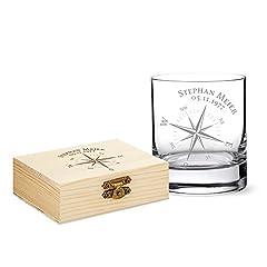 Idea Regalo - AMAVEL - Set da Whisky - Tumbler in Vetro & Pietre da Whisky con Scatola in Legno - Bussola - Personalizzati con [NOME] e [DATA] - 9 Pietre in Granito Insapori Riutilizzabili - Regali per Lui