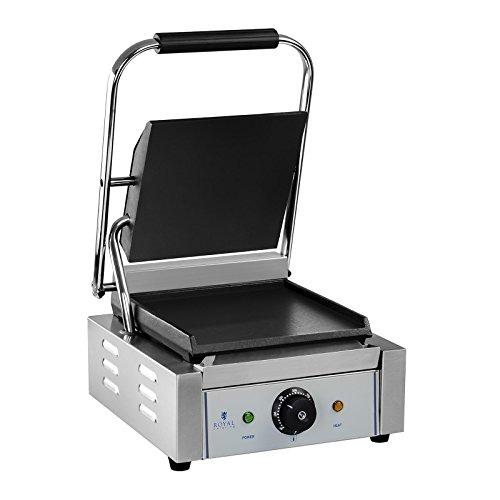 Edelstahl Panini-maker (Royal Catering RCKG-1800-F Kontaktgrill Elektrogrill Sandwich Maker Panini Grill (Glatt, 1.800W, 300°C, Gusseisen emailliert, Edelstahl, 23,5 x 22,5cm))