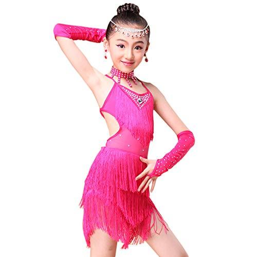 Kostüm Salsa - Grsafety Mädchen Lateinisches Kleid - Kinder Ballsaal Tanzkleid Quasten Schlinge Ärmellos für Tango Salsa Performance Kostüm Gr. 130 cm, rosarot