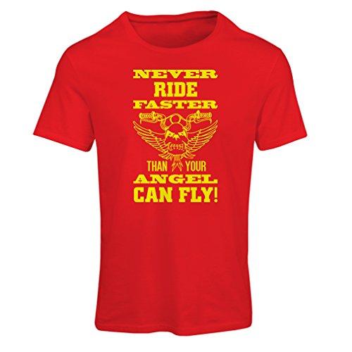 Frauen T-Shirt Motorradkleidung (Small Rot Mehrfarben)