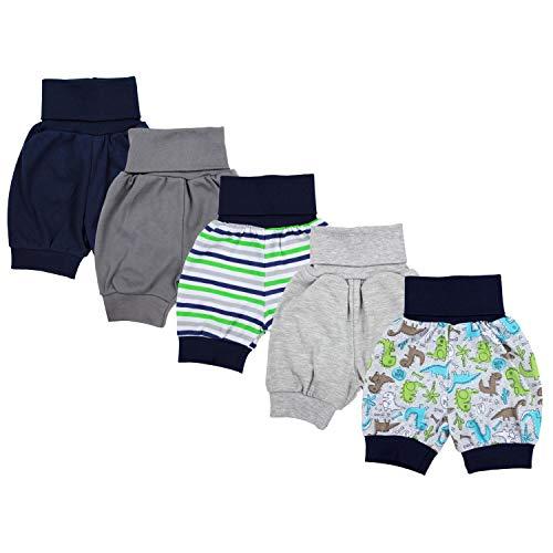 TupTam Unisex Baby Pumphose Sommershorts Baumwolle 5er Pack, Farbe: Junge, Größe: 74/80 Kurze-set