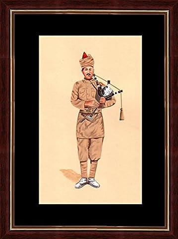 Splendid Indian Art société période soldat jouant peinture miniature cornemuses de chine sur papier à la main avec des couleurs naturelles