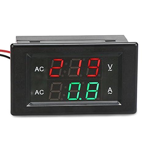 DROK® AC 500V 200A Digitales Voltmeter-Amperemeter, YB4835VA 2 Drähte Spannungs-Strom-Prüfungs-Messinstrument, LED-Strom-Spannungs-Prüfvorrichtung mit roter / grüner Doppel-Farben-Anzeige und eingebautem Störungs-Trimmer-Potentiometer
