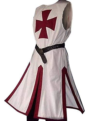 Männer Ritter Kostüm Templer - Herren Mittelalter Templer Tunika Ritter Fasching Kostüm Wikinger Tatzenkreuz Waffenrock Mantel Karneval Erwachsene Ritterkostüm