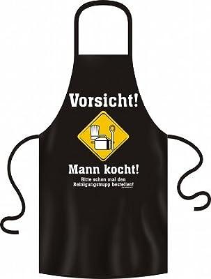 Kochschürze für Männer = Vorsicht ... Mann kocht ... = Küchenschürze - Baumwoll Schürze mit Motiv Latzschürze Grillschürze