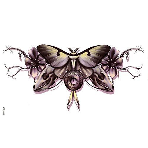 LBBMBC 3 Stück Schmetterling und Dinosaurier Schädel temporäre Tattoo Aufkleber Pesca Körper weibliche Rouge EIN Levre Tattoo Hülle Body Art Aufkleber