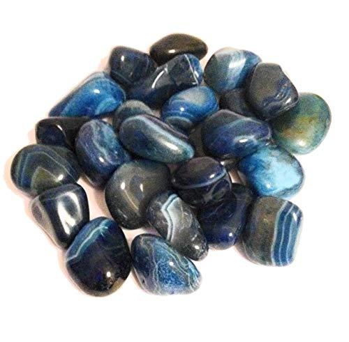 Trommelstein aus Achat, groß, mit blauem Band besetzt, Heilkristall, Schutz, positives Denken, Freude, Reinigung, Beruhigung, Kristalltherapie, 5 Stück
