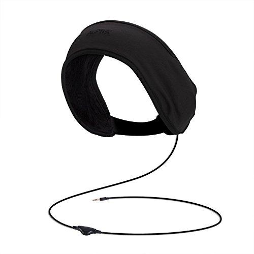 AGPTEK Bandeau avec Écouteurs, Veille Casque avec Écouteurs Intégrés, Compatible avec MP3/Smartphone/Tablette, Idéal pour Dormir, Sports, Voyage, Méditation et Relaxation – Noir