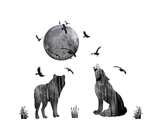 QTXINGMU Dark Ghost Forest Wolf Crow Wand Aufkleber Home Decor Wohnzimmer PVC Halloween Wand Aufkleber DIY Wandmalerei Kunst Poster Geschenk (Dark Forest Halloween)