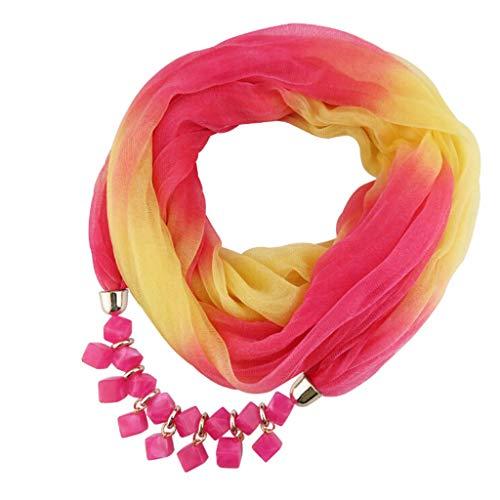 Oliviavan Damen Halskette Schmuck Halstuch mit Abnehmbarer Anhänger Farben auswählbar Blumen Chiffon Schals für Damen Halskette mit Perlen Anhänger Gradient Schal Lätzchen 175 x 42CM (Taschentuch Chiffon Kleid)