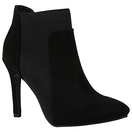 High Booties Heel Wildleder (Damen Stiefeletten High Heels Stilettos Wildleder-Optik Schuhe 151449 Schwarz Avelar 37 Flandell)