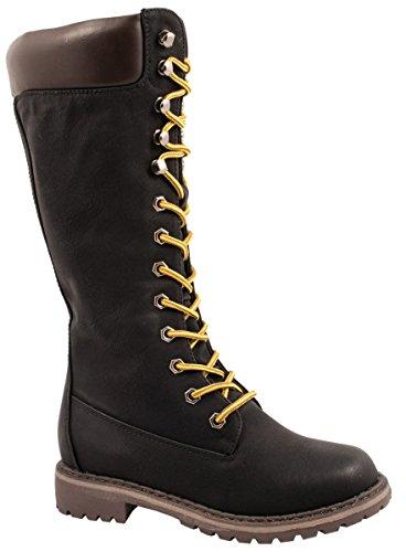 Elara Damen Schnürstiefel | Bequeme Combat Boots | Profilsohle Lederoptik Gefüttert Schwarz