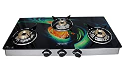 APEX ROYALE Glass 3 Brass Burner Gas Stove, GL-3 205