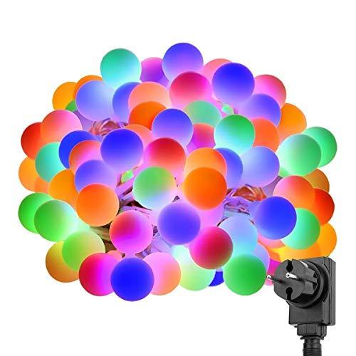 LE 100er LED Kugel Lichterkette 10M, Strombetrieben mit Stecker, 8 Modi und Merk-Funktion, ideale Weihnachtsbeleuchtung für Innen, Zimmer, Party, Deko usw. Mehrfarbig