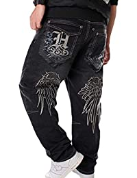 d2bc9052a9df8 Hombres Hip Hop Baggy Jeans de la Vendimia Bordados Sueltos Pantalones Rap  Denim Pantalones Rectos