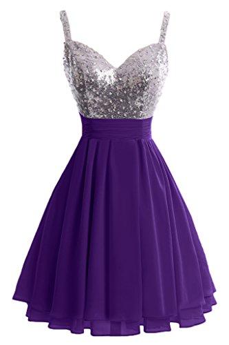 ivyd ressing robe Sweetheart Paillette & Ligne mousseline Spaghetti courtes A Cocktail Lave-vaisselle robe robe du soir violet foncé