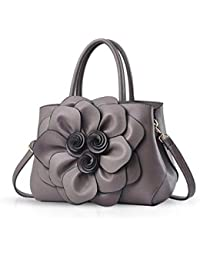 98ce9d2f50f12 Trendy Damen Schultertasche Handtasche Crossbody Tasche Blumenmuster(Grau)