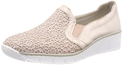Rieker Damen 537T4 Slipper, Pink (Altrosa/Nude-Silver), 41 EU