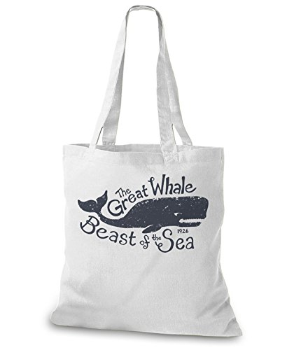 StyloBags Jutebeutel / Tasche The Great Whale Weiß