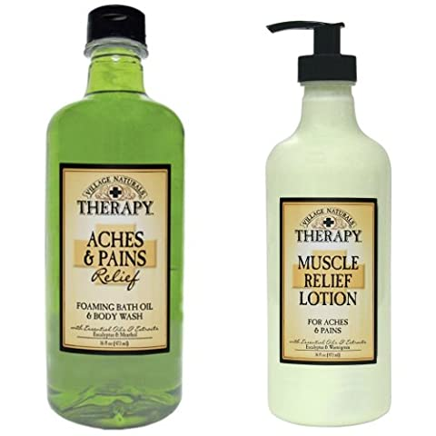 Village Naturals Muscle Aches & Pains Relief Lotion & Foaming Bath Oil Body Wash Relaxing Set by Village Naturals Therapy