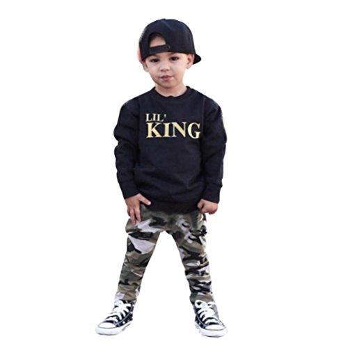 HKFV Jungen fallen und Winter Anzüge Briefe Mantel Tarnung Hosen Kinder Anzüge Lil 'King Buchstabe T-Shirt Tops + Camouflage Hosen Outfits Kleider Set (120) (Jungen Gepolsterte Shirt)