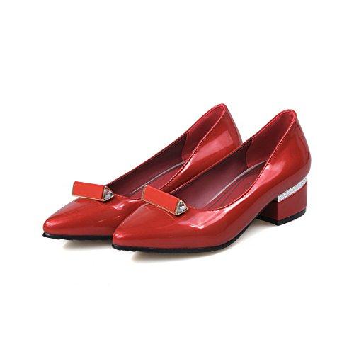 Sapatos Allhqfashion Puxe Vermelho Apontado Bombas Colocados Senhoras Couro No Dedo YxwBqwda