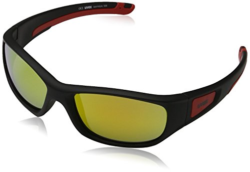 Uvex Unisex - Kinder Sportsonnenbrille Sportstyle 506, Black Mat Red/Lens Mirror Red, One Size, 5338652316