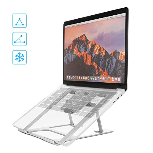 SAVFY Support Ordinateur Portable Ventilé - Support PC Portable Bureau Tablette PC Refroidisseur Universel Flexible et Pliable avec 6 Degrés Inclinable pour Ordinateur Portable PC Tablette etc-Argent