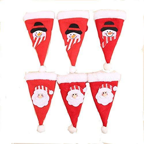 12Weihnachten Besteck Halter Weihnachten Besteck Tasche Halter für Weihnachten Tisch Dekoration (6pcs Santa Claus + 6Weihnachten Schneemann)