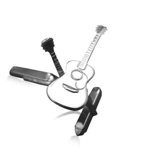 Guitar Necklace Herren-Manschettenknöpfe Gibson-Akustikgitarre / Akustische Gitarre Sterlingsilber