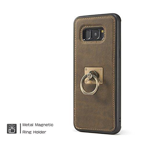 EKINHUI CaseMe Case avec 360 Rotating Finger Ring Stand Design et Magnetic Back Cover pour Samsung Galaxy S8 Plus pour Galaxy S8 Plus ( Color : Yellow ) Brown