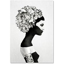 Raybre Art® 30 x 40 cm Impresión sobre Lienzo Sin Marco - Pintura al óleo Cuadro Abstracto Moderno Mujer Flores Blanco y Negro para Arte Pared Decoración Hogar Dormitorio