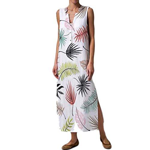 Wawer Frauen mit V-Ausschnitt Blumendruck-Button-Down-ärmelloses Kleid Langärmliges Damenkleid aus bedruckter Baumwolle und Leinen Boho - Sleeveless Woven Pullover