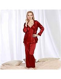 e4879c8e50 HAOLIEQUAN Conjunto De Pijamas De Mujer 3 Piezas De Encaje Sleep Lounge  Pijama De Satén De Otoño Pijamas De Mujer Elegante para Mujer…