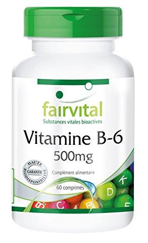Vitamine B-6 500mg - 60 comprimés - haute dose de chlorhydrate de pyridoxine - substance pure