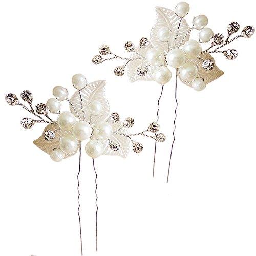Miya 1 paar MEGA Glamour Braut Kamm Haarnadel Steckkamm mit wunderschöner Blumen Blüte, verschönert mit Perle und Kristallen, Braut Schmuck Hochzeit Jugendweihe Haarschmuck, Form YY18 (Spitze Verschönert)