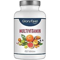GloryFeel® Multivitamin 450 Tabletten Hochdosiert - Der VERGLEICHSSIEGER 2019* - Alle Wertvollen A-Z Vitamine und Mineralstoffe für 15 Monate  Verpackung kann variieren