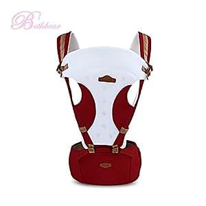 GBlife Marsupio Neonato Ergonomico Regolabile per Baby Carrier confortevole e Respirante Fascia Portibile Multifuzionale 110cm della Lunghezza della Cintura con Seggiolino da Anca (rosso violaceo)