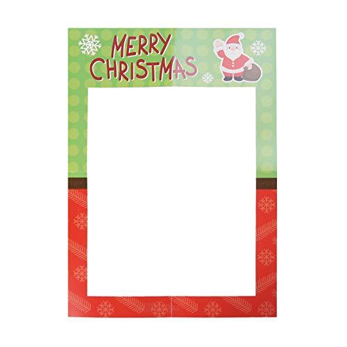 BESTOYARD Weihnachten Photo Booth Props Papier Bilderrahmen Ausschnitt DIY Foto Requisiten Frohe Weihnachten Party Dekoration (Weihnachten Fotos Diy)