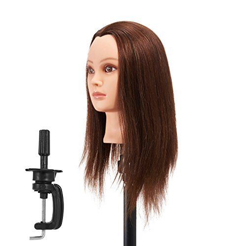 Hairginkgo 51cm - 56cm 100% cheveux humains formation Practise Tête Styling Dye Coupe Mannequin Mannequin Head (91806W0414)