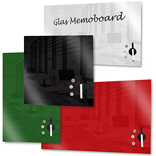 Rapid Teck memo Board CRISTAL Pizarra magnética Panel de vidrio incl. Accesorio IMANTADO Pizarra blanca pizarra magnet-board - Negro, 45cm x 50cm