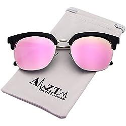 AMZTM Klassisch Retro Halbrand Verspiegelt Polarisierte Sonnenbrille Damen Rosa Linsen