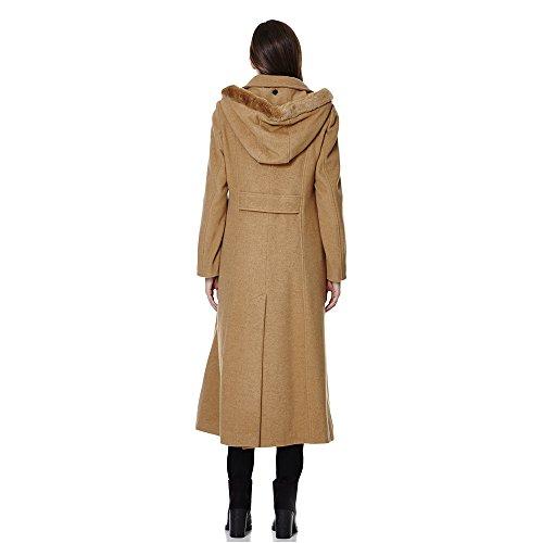 Anastasia - Frauen Winter-Kaschmir mit Gürtel Mantel Kamel