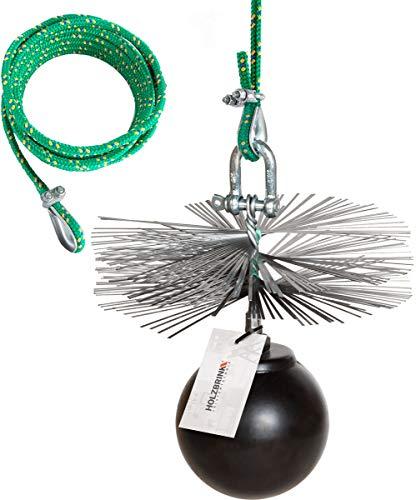 HOLZBRINK 250mm Kaminbesen Schornsteinbesen aus Federstahl + 12m PP-Seil + Zuggewicht inkl. Montagezubehör PROFISET Spezial -